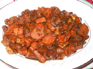 Candied Sweet Potatoes, Apples and Plantains