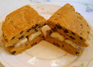 Peanut Butter and Banana Sandwich on Sweet Potato Raisin  Flatbread