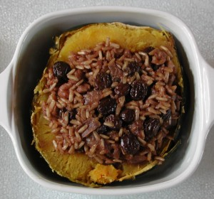 Baked Acorn Squash with Rice Raisin Nut Stuffing