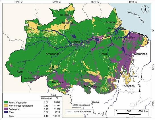 Rainforest Deforestation Map Amazonian rainforest Amazon Rainforest Map Deforestation