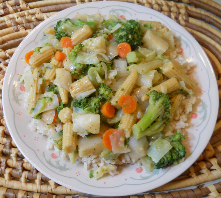 Broccoli Cabbage Corn Onions Stir Fry Chinese Style An All Creatures Vegetarian Vegan Recipe