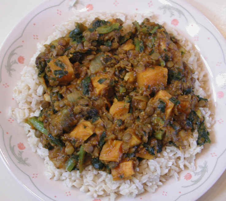Collard Greens, Sweet Potato and Lentil Curry
