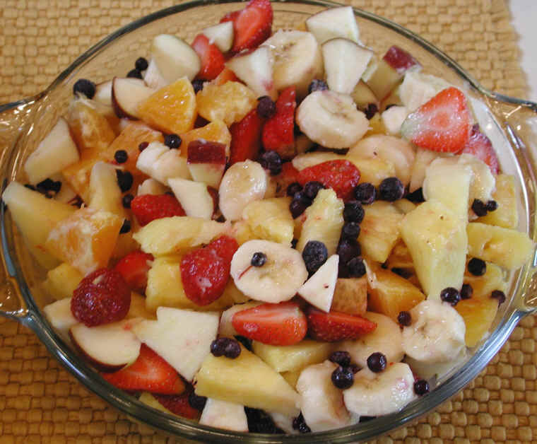Fruit Salad With Apples Bananas Blueberries Oranges