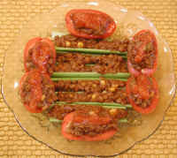 Tomatoes and Celery Stuffed with Lentil Chili