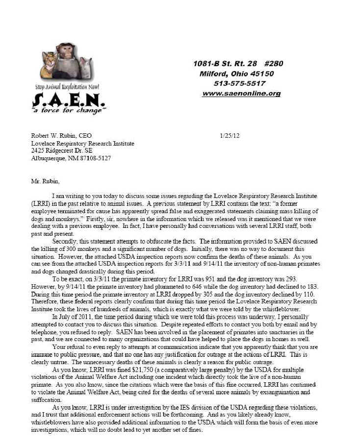 Lovelace Respiratory Research Institute Albuquerque NM Letter