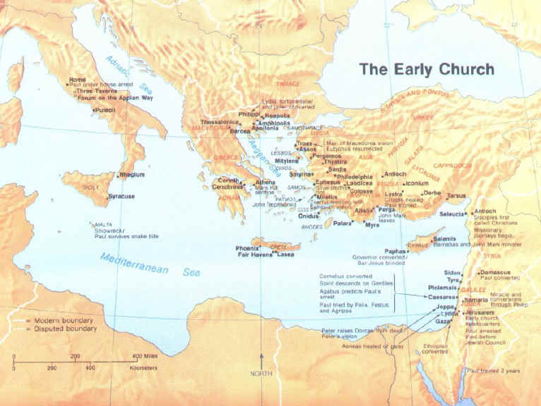 Map of Early Churches The Early Church